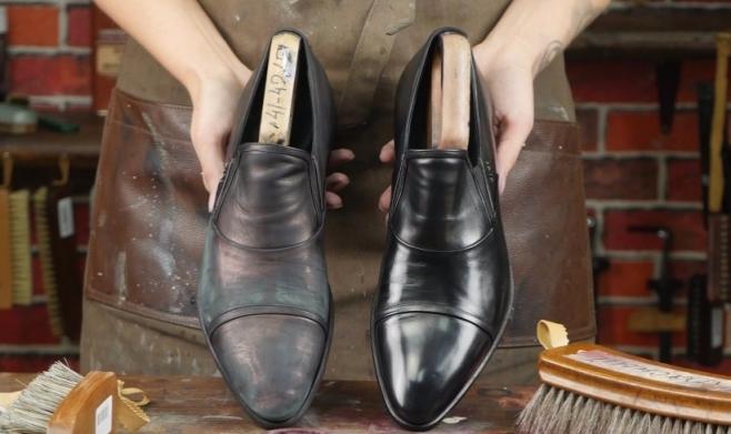 Покраска мужской кожаной обуви